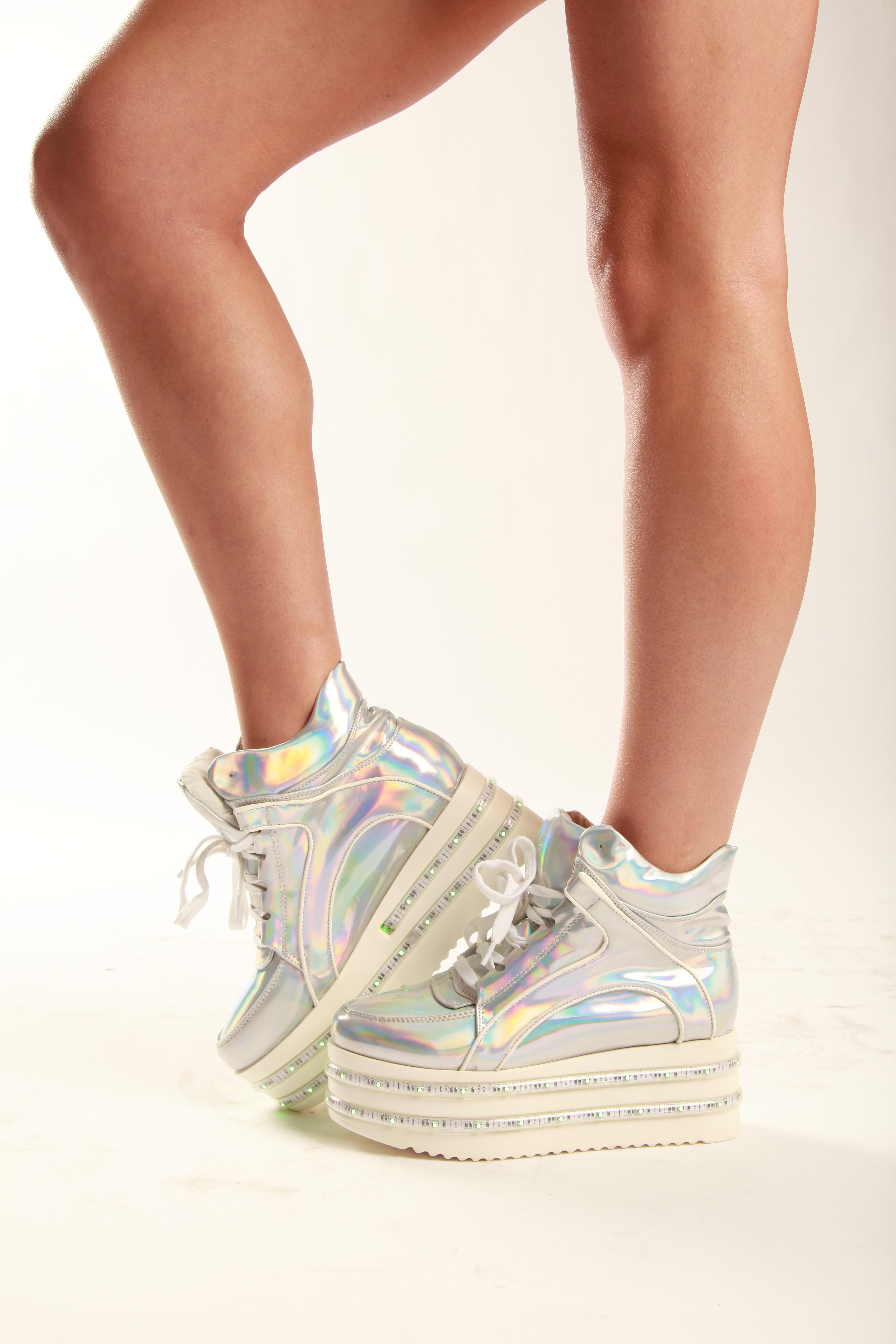 promo code 3a315 7693f Silver Hologram LED Light-up Platform Shoes