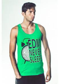 """EDM Never Sleeps"" Tank - Green"