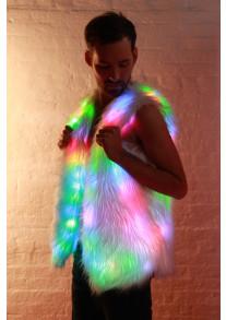Glow Fur Rainbow LED Vest