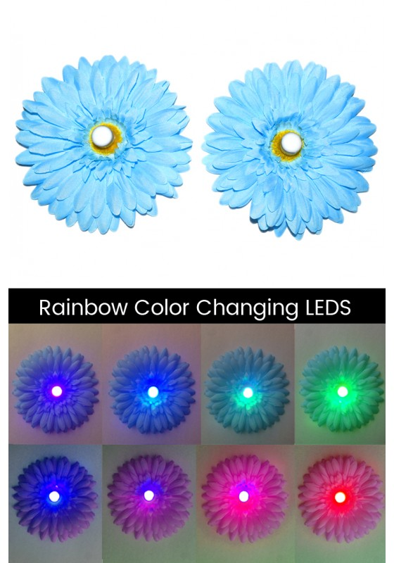 LED Light-up Daisy Pasties - Blue