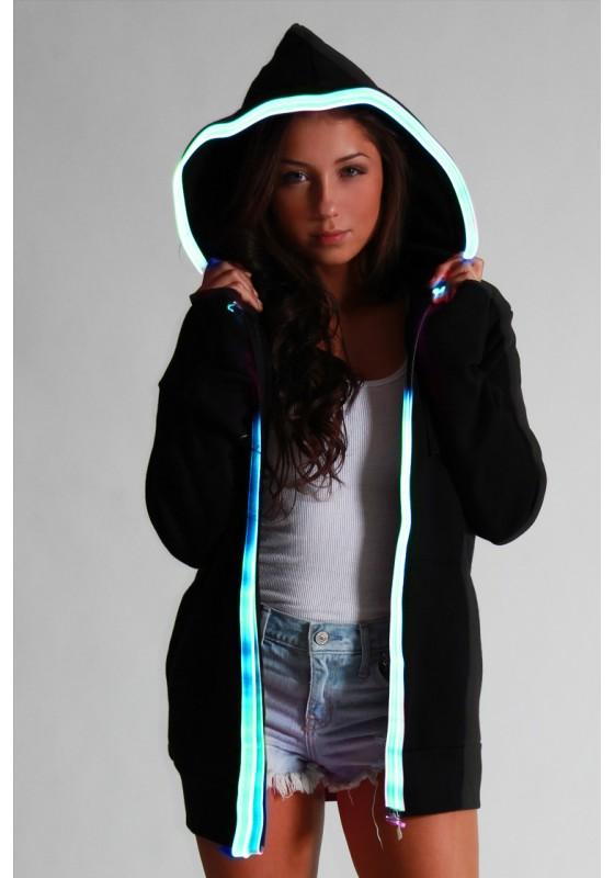 Light-up Hoodie - Black with blue el wire