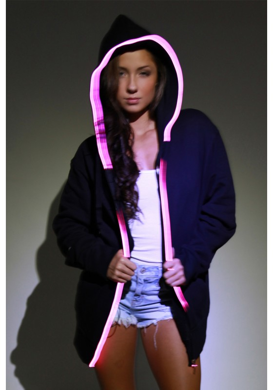 Light-up Hoodie - Black with pink el wire