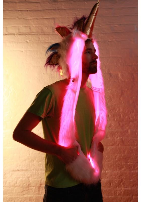 Light Up Unicorn Hood Glow Fur