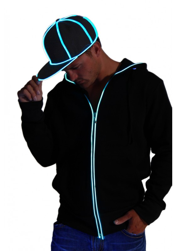 Snap Back Hat - Black with Blue  eL Wire