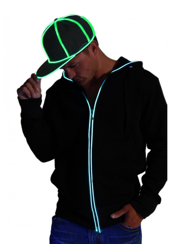 Snap Back Hat - Black with Green  eL Wire