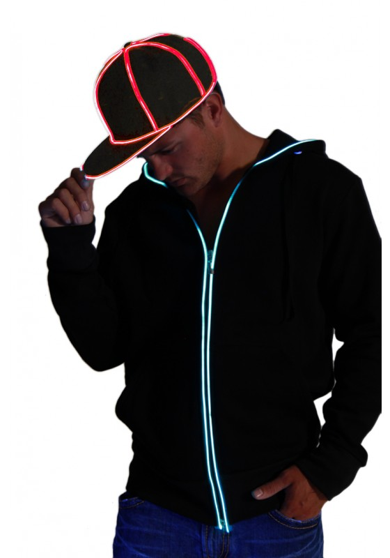 Snap Back Hat - Black with Red  eL Wire